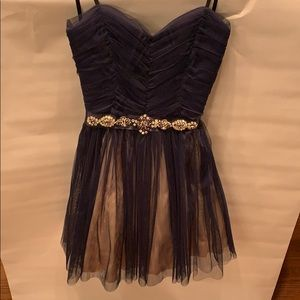 Gorgeous blue and pink Strapless cocktail dress